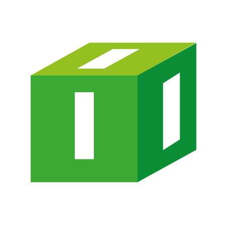 block number: cube number one block dimension volumetric square vector graphic isolated and flat illustration