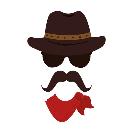 cruel: man hat mustache face cowboy male guy vector graphic isolated and flat illustration