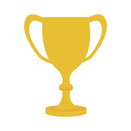 trophy cup first place gold winner handle prize award  vector graphic isolated and flat illustration