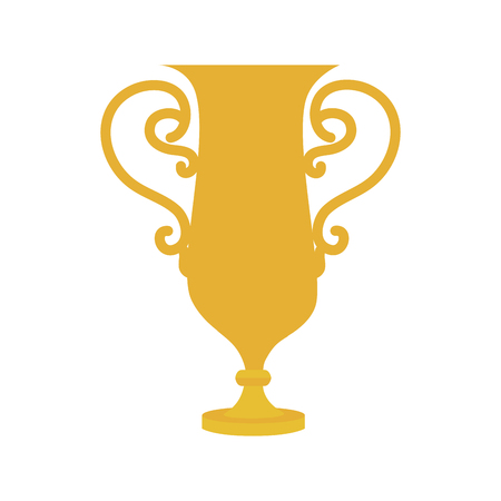 trophy cup large first place gold winner handle prize award  vector graphic isolated and flat illustration
