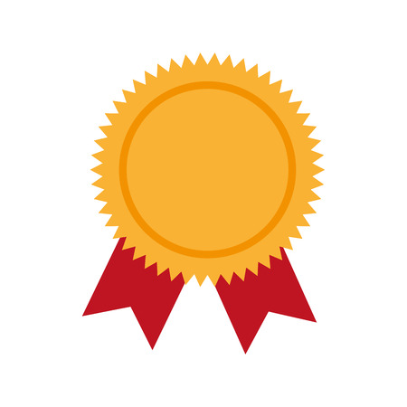 award ribbon winner prize medal competition champion trophy vector graphic isolated and flat illustration