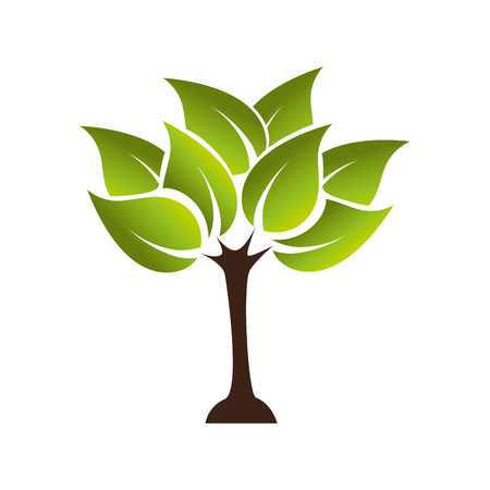tree plant green leaf ecology leaves growing silhouette vector graphic isolated and flat illustration