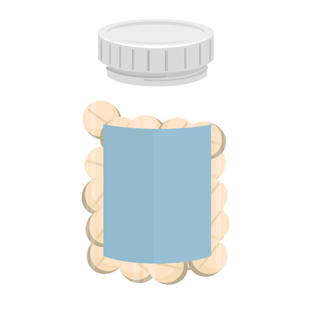 pill prescription: bottle drugs medicine prescription medical medicament recipient pill vector graphic isolated and flat illustration