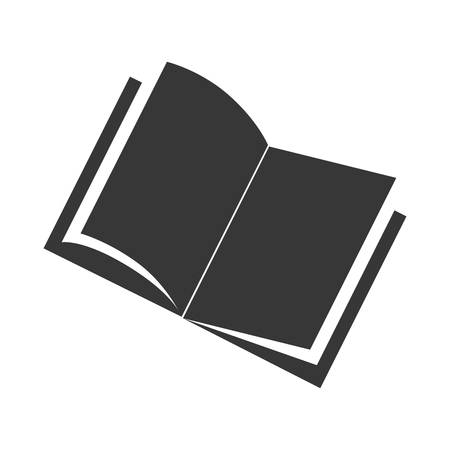 rotated: book open front single study library education reading academic vector graphic isolated and flat illustration