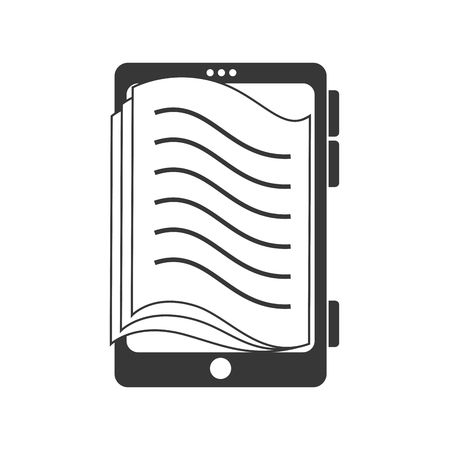 reader: reader electronic pocket ebook ereader page book digital vector graphic isolated and flat illustration