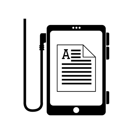 kindle: reader electronic document letter smartphone pocket ebook ereader page book digital vector graphic isolated and flat illustration