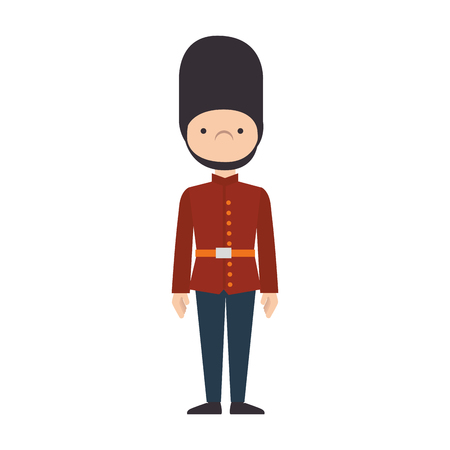 buckingham: guard man london british queen security hat uniform vector graphic isolated and flat illustration
