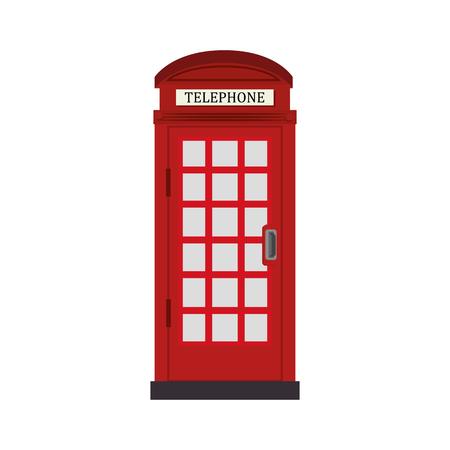 Telefon cabine London traditionelle Symbol Britannien berühmt Kabine Anruf Telefon Vektor-Grafik isoliert und flach Illustration Vektorgrafik