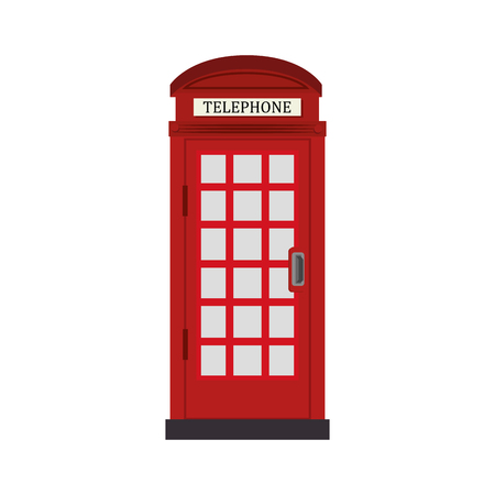 telephone cabine london traditional icon britain famous cabin call phone vector graphic isolated and flat illustration