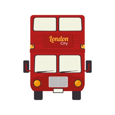 Vehículo autobús de Londres británico famoso icono del reino unido Inglés gráfico vectorial aislado e ilustración plana Foto de archivo - 61148364