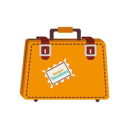 suitcase packing: suitcase travel case vacation luggage destination vector graphic isolated and flat illustration