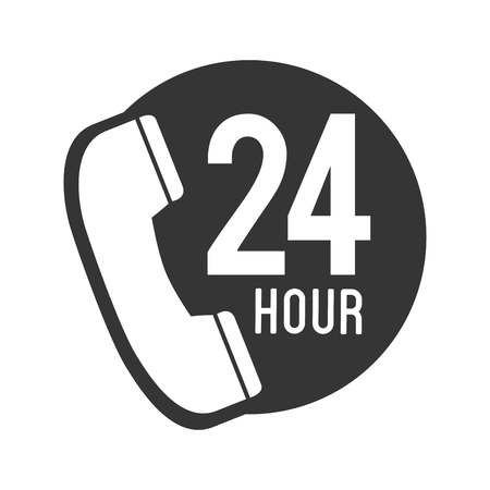 bakelite: telephone phone 24 hour communication line call vector graphic isolated and flat illustration