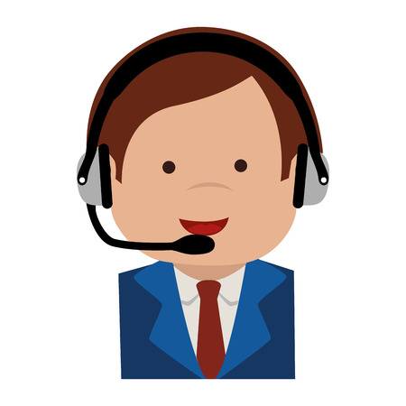 head support: man head set operator support tie suit communication vector graphic isolated and flat illustration Illustration