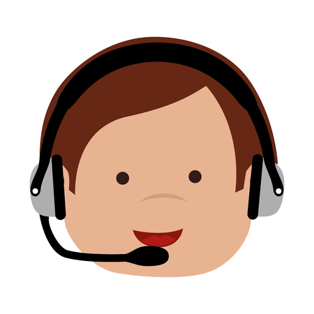 handsfree telephone: man head set operator support tie suit communication  face smiling vector graphic isolated and flat illustration Illustration