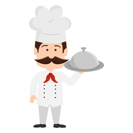 chef mustache platter restaurant cook kitchen cartoon  vector graphic isolated and flat illustration Illustration