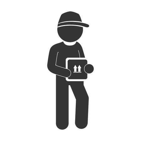 dispatch: man delivery box hat pictogram dispatch service person vector graphic isolated and flat illustration Illustration