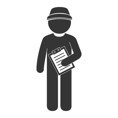 dispatch: man delivery order chek sign  hat pictogram dispatch service person vector graphic isolated and flat illustration Illustration