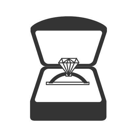 jewelery: ring engage box diamond jewelery luxury romance marriage proposal vector graphic isolated and flat illustration
