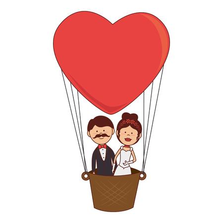 boyfriends: husbands boyfriends woman men wedding balloon heart air marriage  vector graphic isolated and flat illustration