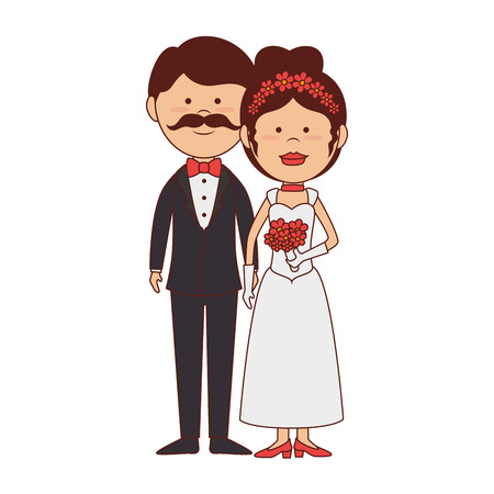 bride groom wedding marriage husbands love romance vector graphic isolated and flat illustration Illustration