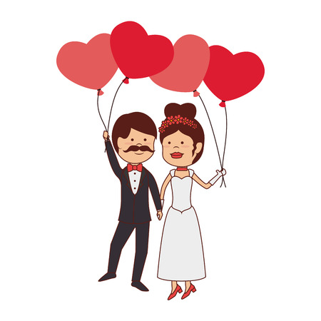hot wife: husbands love man wife women balloons heart dress bow tie vector graphic isolated and flat illustration Illustration