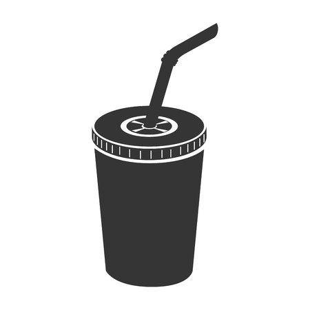carbonated beverage: drink paper glass straw liquid recycle takeaway vector graphic isolated and flat illustration Illustration