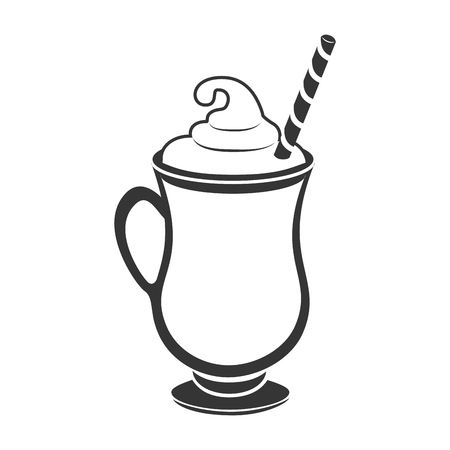 milkshake drinken dessert glas crème stro vintage vector grafische geïsoleerd en vlakke afbeelding