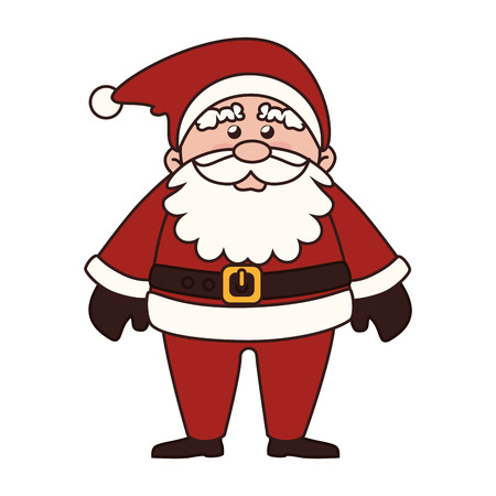 pere noel: santa claus man christmas beard hat cartoon red traditional vector graphic isolated and flat illustration