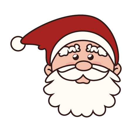 pere noel: santa claus man face icon  christmas beard hat cartoon red traditional vector graphic isolated and flat illustration