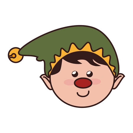 helper: christmas elf helper season hat nose red smile vector graphic isolated and flat illustration