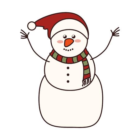 bonhomme de neige noël noël saison chapeau nez souriant heureux graphique vectoriel froid isolé et illustration plat
