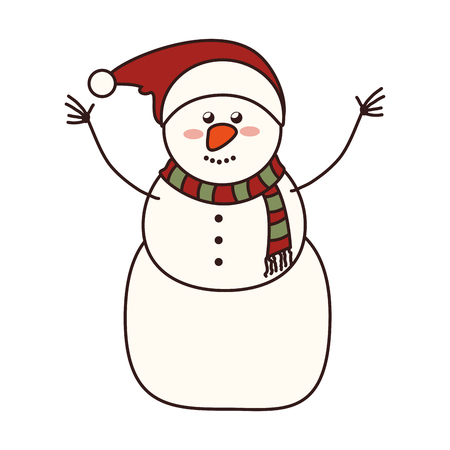 mitten: snowman christmas season xmas hat nose smiling happy cold vector graphic isolated and flat illustration