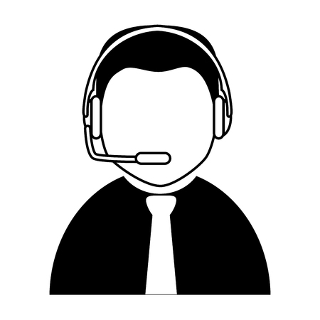 assistant: headset person call operator reception assistant support communication service vector graphic isolated and flat illustration Illustration