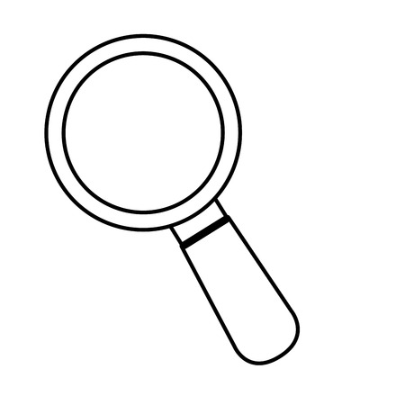 review site: lupe magnifying glass search explore instrument focus examine vector graphic isolated and flat illustration