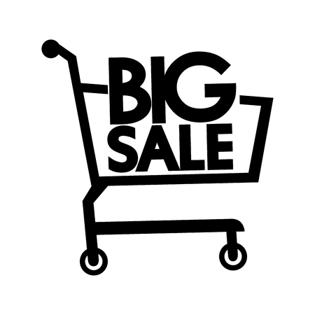 retailer: cart buy product big sale special offer shopping supermarket market carrying store vector graphic isolated and flat illustration