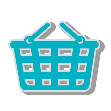 supermarket shopper: basket supermarket handles carry bucket shopper store vector graphic isolated and flat illustration Illustration