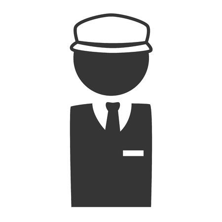 valet: man suit tie hat business driver male guy profession worker vector graphic isolated and flat illustration Illustration