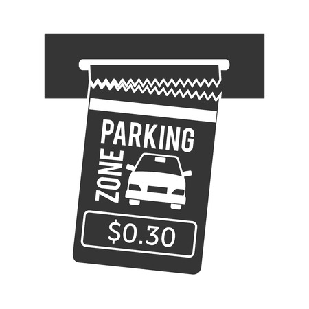 car bills: parking ticket auto zone paper pay money push card car vector graphic isolated and flat illustration