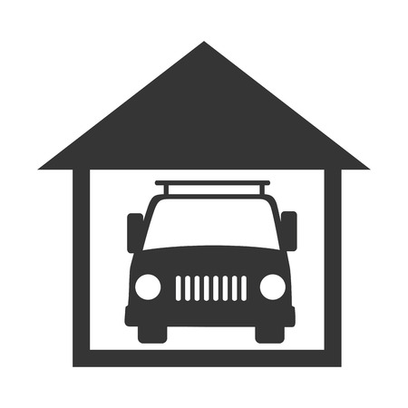garage on house: car garage house inside vehicle auto residential transport vector graphic isolated and flat illustration