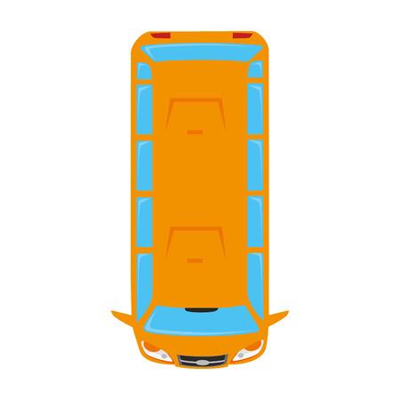 Van wagon bus voertuig top vervoer auto sedan auto vector geïsoleerd grafisch en een flatscreen illustratie