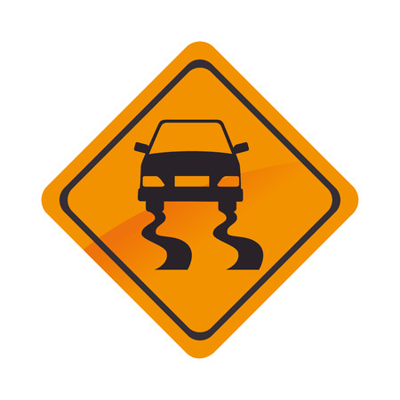 precaution: sign car yellow road precaution caution symbol risk vector graphic isolated and flat illustration Illustration