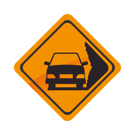 sign car yellow precaution caution symbol risk vector graphic isolated and flat illustration Illustration