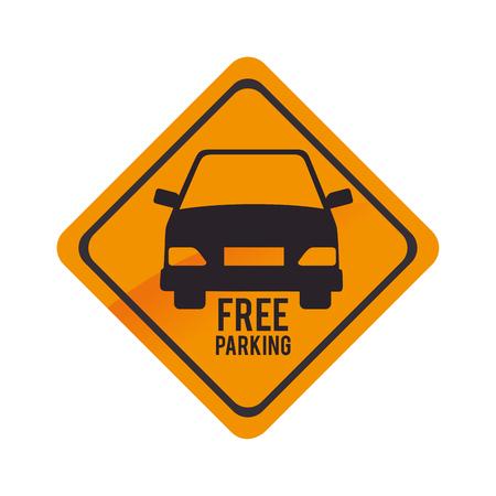 símbolo parque de estacionamiento libre del vector del coche amarillo gráfico y la ilustración aislado plana