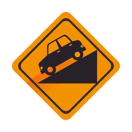 sign car down yellow precaution caution symbol risk vector graphic isolated and flat illustration Illustration