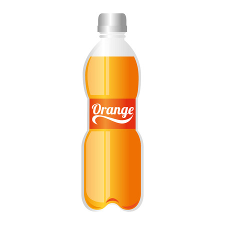 bottle soda drink juice orange liquid recipient beverage cap container vector graphic isolated and flat illustration Illustration
