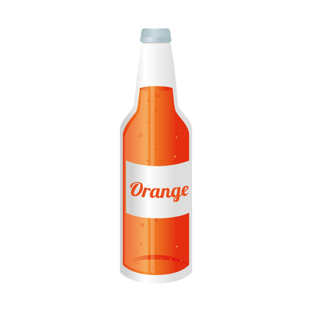 recipient: orange soda juice bottle glass liquid drink recipient cap vector graphic isolated and flat illustration