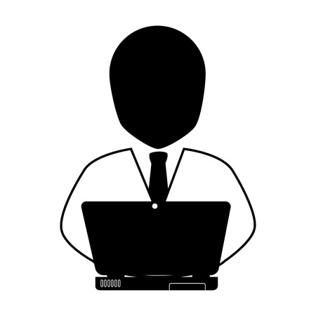 suit tie: man front suit tie businessman computer screen business male adult vector graphic isolated and flat illustration Illustration