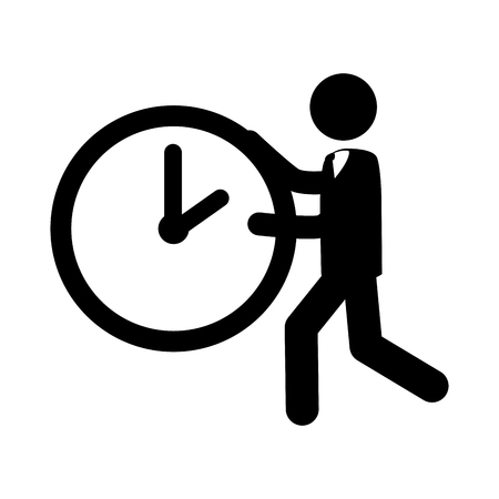 move: person run time watch clock hand business vector graphic isolated and flat illustration Illustration
