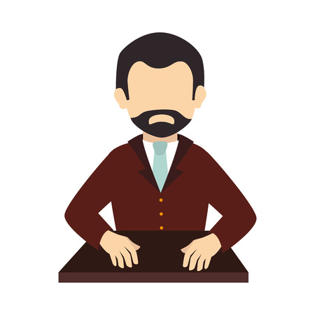 worried executive: beard business businessperson man suit silhouette tie vector graphic isolated and flat illustration Illustration