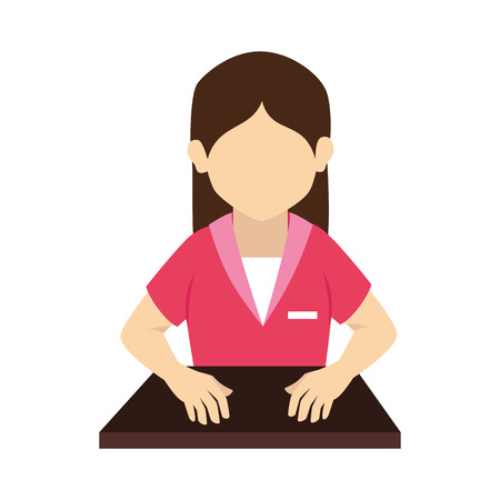 front desk: woman nursery desk hands hair pink uniform front head vector graphic isolated and flat illustration